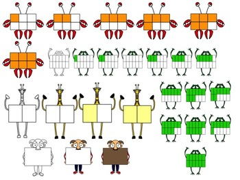 A Zoo of Fraction Critters Clip Art in PNG Format