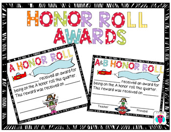 A and AB Honor Roll Award Set