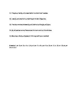A and An worksheet