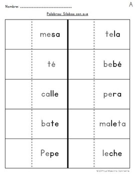 Read and Paste: Decoding E Syllables (Spanish)