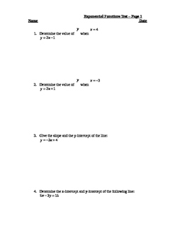 A basic exponential function test. Answer sheet provided.