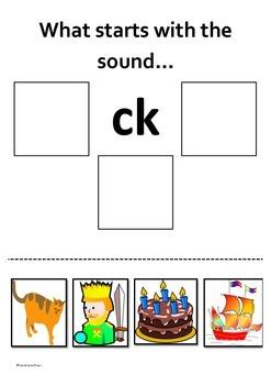 A beginning sound worksheet for c/k