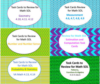 A bundle of Task Cards to Review ALL 4th grade VA Math SOLs. Over 200 cards!