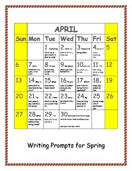 April writing prompts: day by day on a calendar
