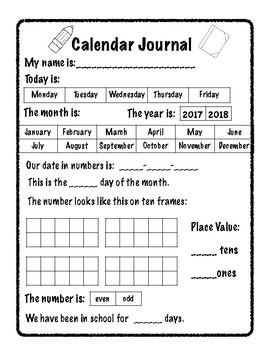 A calendar journal page for early kindergarten.