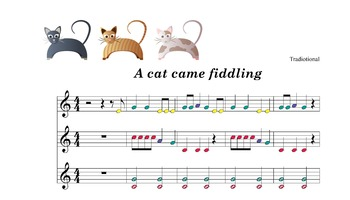 Boomwhacker music:A cat came fiddling .SCORE. sheet and mp3 sound ACOMPANIAMENT.