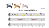 Boomwhacker music:A cat came fiddling .SCORE. sheet and mp