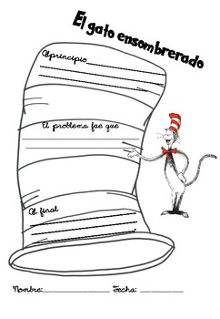 A cat in the hat Dr. Seuss comprehension cards and graphic organicer. Spanish