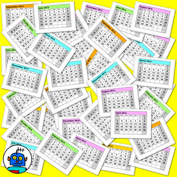 A classroom calendar for 2014, 2015 and 2016 with month day and dates