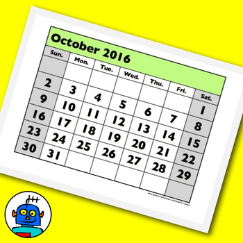 A classroom calendar for 2014, 2015 and 2016 with month da