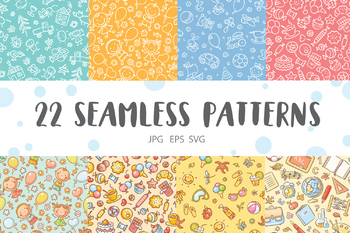 A collection of hand-drawn seamless kids patterns both colorful and monochrome