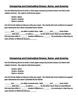 A comparison/contrast paper for ancient Greece, ancient Ro
