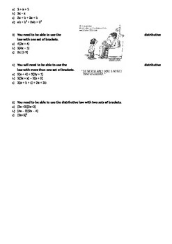A complete worksheet or mini-test covering Numbers, Scale, Ratio and Algebra