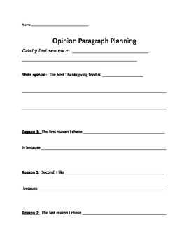 A cute, simple outline for a Thanksgiving Opinion Writing