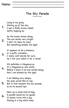 A cute spring poem that contains imagery, an assessment and comprehension