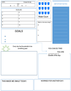 A daily planning sheet