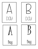 A-day B-day post card size printable signs.