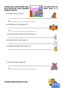 A day in Garfields Life - simple present exercises