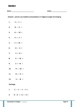 A different Approach on Operations in Integers - A discovery Worksheet