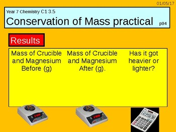 """A digital version of the Grade 6 C1 3.5 """"Conservation of Mass"""" lesson."""