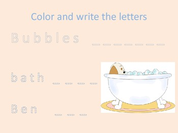 A  packet for k-2, handwriting, short story and letters b and d