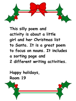 A fun, silly poem about a girls Christmas list. Poem, sort and writing included,