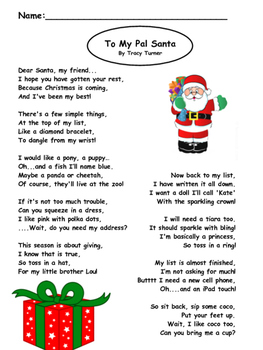 a fun silly poem about a girls christmas list poem sort and writing included