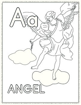 A if for Angel Coloring Page