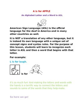 A is for APPLE  -  An Alphabet Letter and a Word in ASL