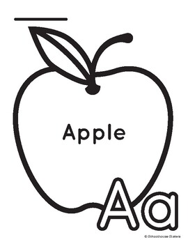 Letter A for Apple Coloring and Trace Sheet by Schoolhouse ...