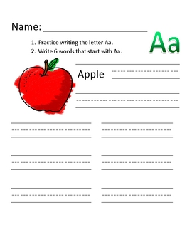 A is for Apple Writing Practice Sheet
