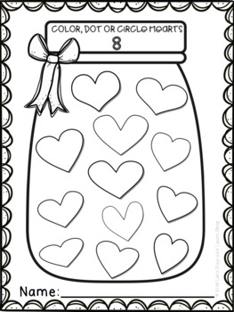 A jar filled with hearts! Counting 0-10 (Preschool)
