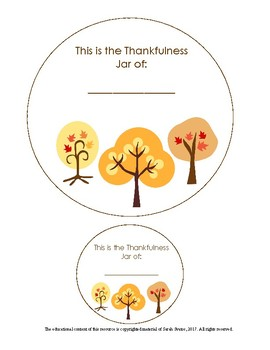 Whole class activity for Thanksgiving, Give Thanks, A Jar Of Thanks