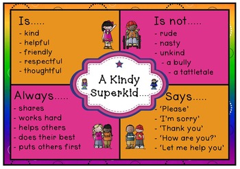 A kindy Superkid is... Behaviour Poster freebie
