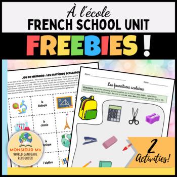 À l'école - French School Unit FREEBIES !!