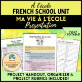 À l'école - French School Unit : My Life at School Presentation