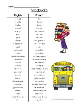 À l'école: School-Themed French Unit (Reading,Writing,Speaking,Listening)