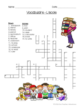 À l'école: School-themed beginner French vocabulary activities for grades 4-7