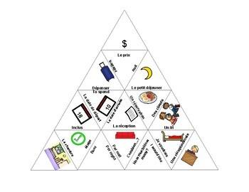 À l'hôtel - Triangle Vocabulary Puzzle