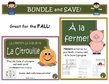 À la ferme et La Citrouille - Farm and Pumpkins BUNDLE: French packages for Fall