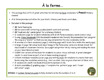À la ferme et La Poule - Farm and Chickens BUNDLE: French packages for Fall