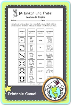 A lanzar una frase Spanish Printable Game