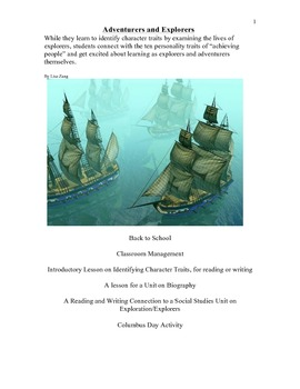 Explorers in History: Reading for Character Traits & Classroom Mangagement