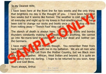 A letter from the trenches in WW1 - Soldiers from the British Empire.