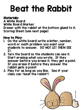 A letter sound fluency game!  Beat the Rabbit