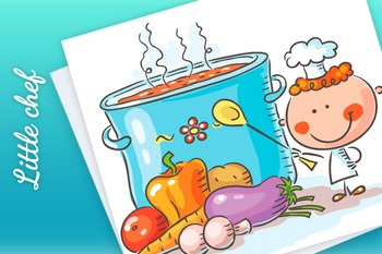 A little chef with a giant boiling pot and vegetables