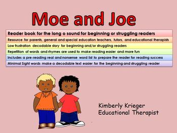 Reader book for the long o sound for beginning or struggling readers