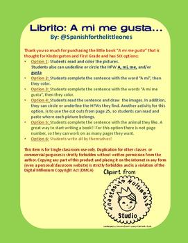 A mi me gusta el/la - Librito de palabras frecuentes - HFW books Spanish