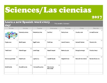 A month of Spanish Science Words