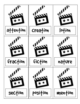 A motion picture event: -tion and -ture practice